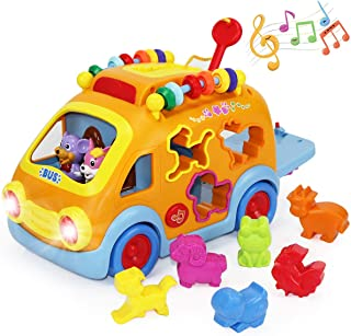 iPlay, iLearn Electronic Musical Bus, Baby Sensory Toy, 3D Animal Matching Car w/ Gear, Early Development, Learning, Educational Gift for Girls Boys Toddlers Kids