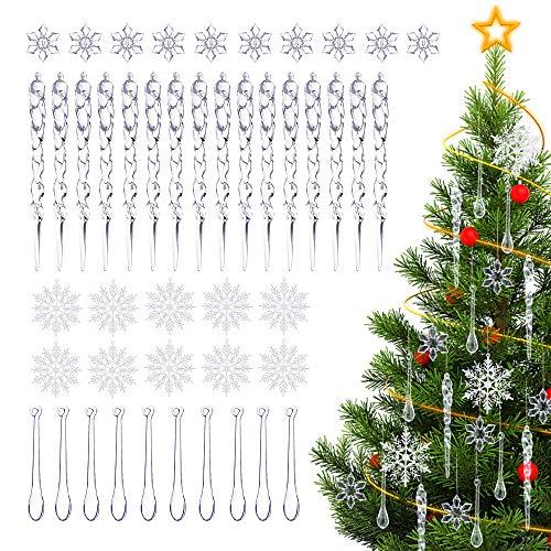 ASANMU Eiszapfen Weihnachtsbaum, 45 Stück Eiszapfen zum Anhänger Glitter Schneeflocke Weihnachten Ornament Christbaumschmuck Eiszapfen Hängende DIY Weihnachtsbaum Deko für Weihnachts Party Dekoration