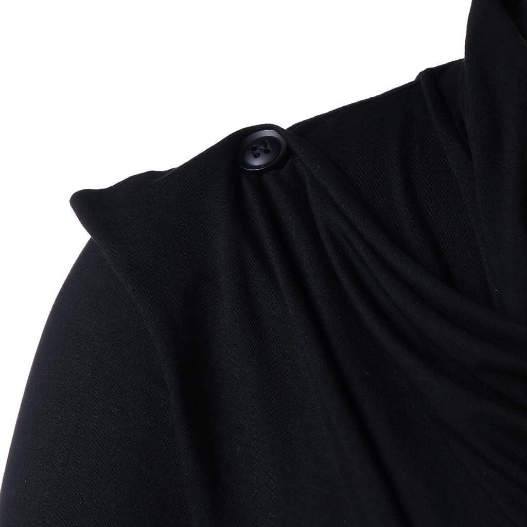 HONGJ Tops for Mens, Men's Knight Punk Vintage Style Long Sleeve Asymmetric Hem Cowl Neck Teen Boys Gothic Pullover