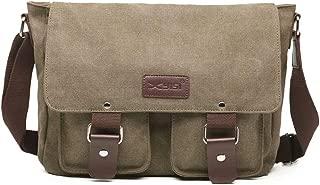 Mens Messenger Bag Vintage Canvas Briefcase Large Satchel Shoulder Bag Rugged Leather Computer Laptop Bag-Green