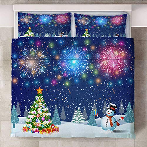 LZTTDMG Duvet Cover King Set 3D Colorful fireworks Printed 3 Pieces Bedding Set with 2 Pillowcases with Zipper Closure Soft Microfiber Anti-allergic Quilt Cover for Kids Adults 87 x 94 inch