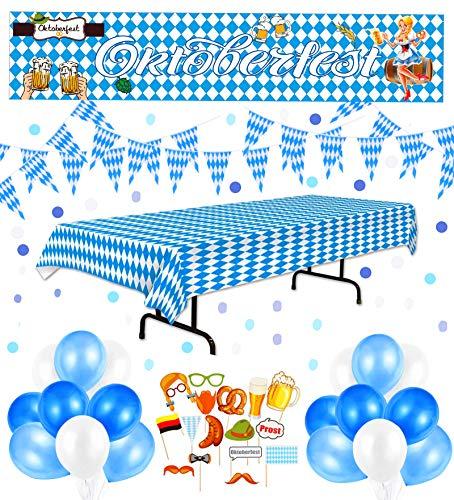 Oktoberfest Deko Set Dekoration, Hook Wiesn Deko Oktoberfest Party Bayern Deko 10 Meter Bayrische Girlande + Oktoberfest Tischdecke + 17 Stück Fotorequisitten + XXL Oktoberfest Banner