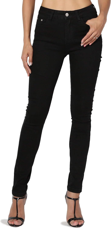 TheMogan Juniors Med Blue Wash Stretch Denim High Rise Waist Ankle Skinny Jeans