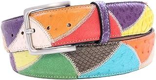 ESPERANTO Cintura Pitone e struzzo Multicolore unisex 4 cm con fodera Nabuk -soggetto Vela