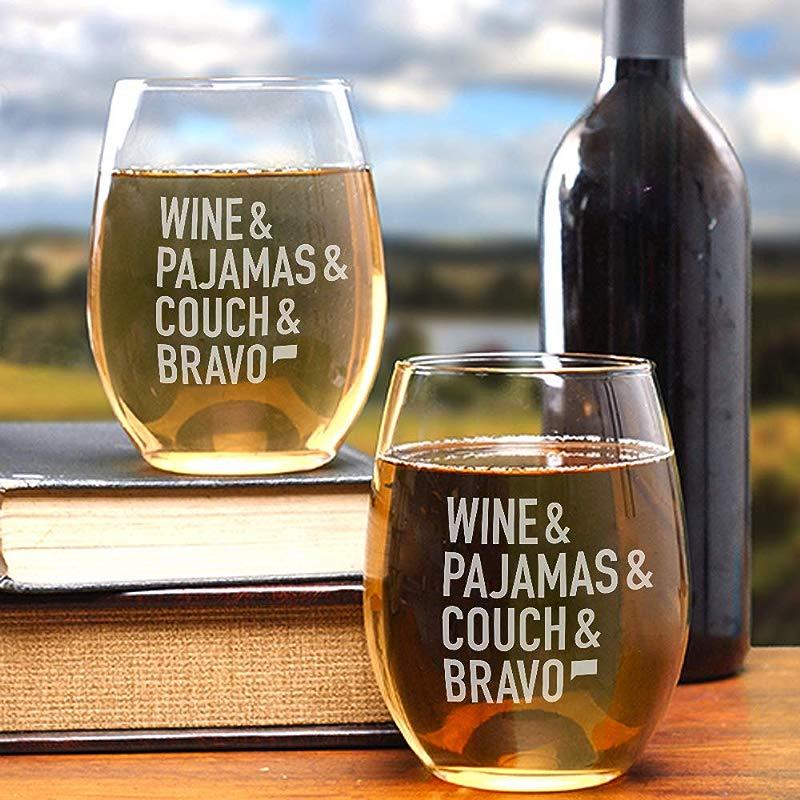 Wine Pajamas Couch Bravo Stemless Wine Glass