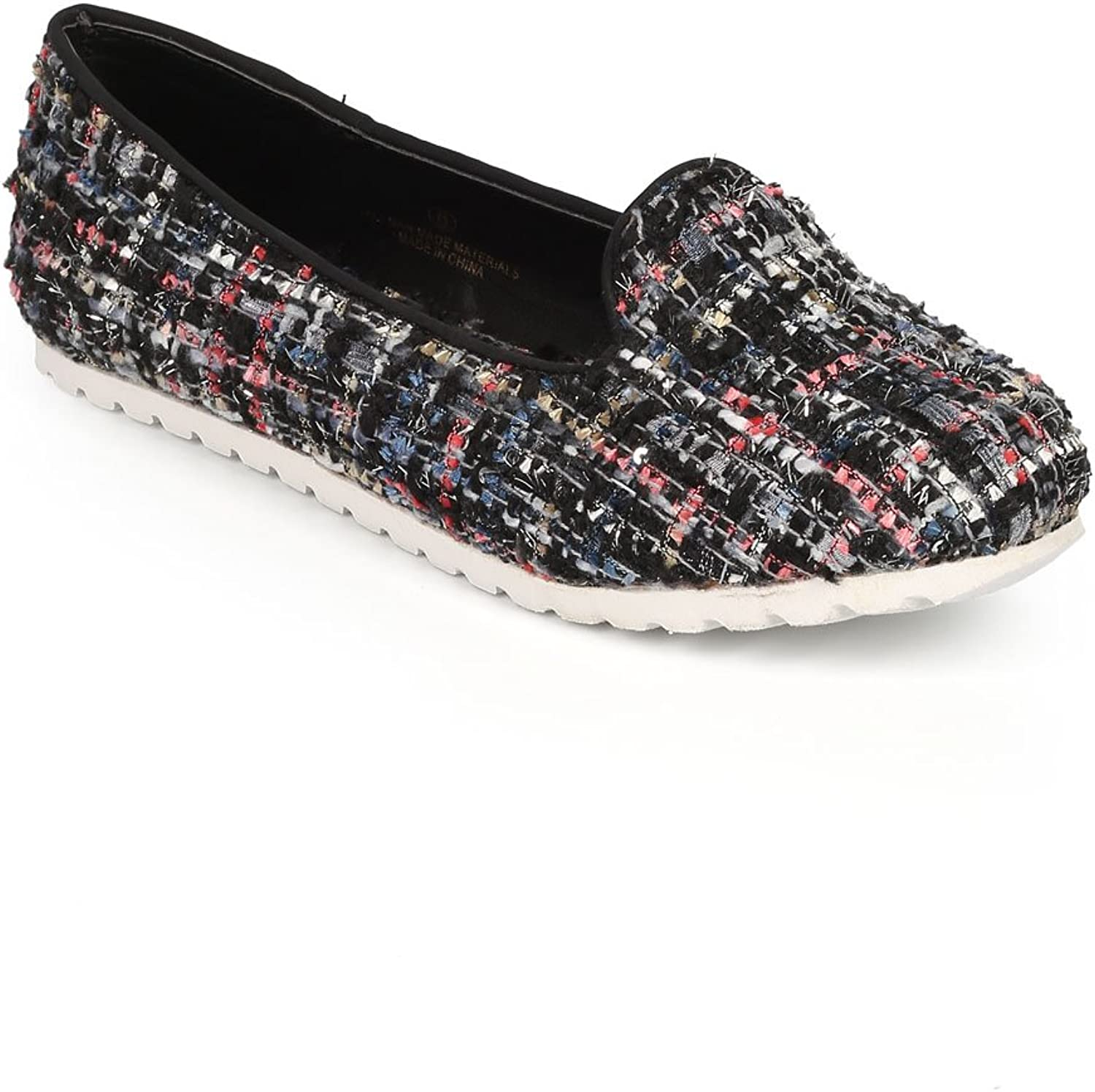 Misbehave Women Tweed Fabric Round Toe Slipper Loafer Flat CI40 - Black