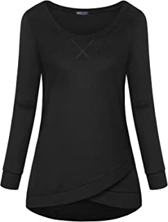Womens Long Sleeve Round Neck Cross-Front Shirt Blouses Sweatshirts Tops