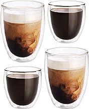 Redlemon Vasos de Vidrio con Doble Pared de Cristal para Capuchino o Vino (Paquete de 4), Tazas para Café y Vaso Térmico p...