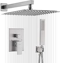 IRIBER Brushed Nickle Shower System 12 Inch High Pressure Rainfall Shower Head Brass Shower Set Bathroom Rain Shower Mixer Shower Valve Modern Rain Shower and Shower Faucet and Handheld Combo Set