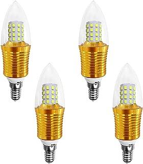 Lxcom E14 LED Candelabra Bulb (4 Pack) 9W Daylight White 6000K LED Candle Bulbs 80 Watt Light Bulbs Equivalent 800LM for Chandelier Ceiling Fan Light Fixture, AC85-265V(Gold)