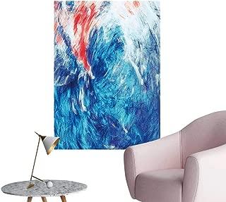 SeptSonne Vinyl Artwork Blue sea Wave splaashe Bright Paints Color backgroun for Wallpaper Easy to Peel Easy to Stick,32