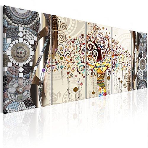 murando Impression sur Toile intissee 200x80 cm Tableau 5 Parties Tableaux Decoration Murale Photo Image Artistique Photographie Graphique Foret Nature Arbre Klimt Abstrait l-A-0006-b-n