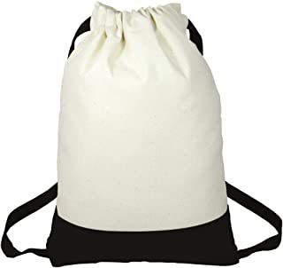 Two Tone Fancy Heavy Canvas Drawstring Backpacks for Sports,  Travel,  School Set of 6