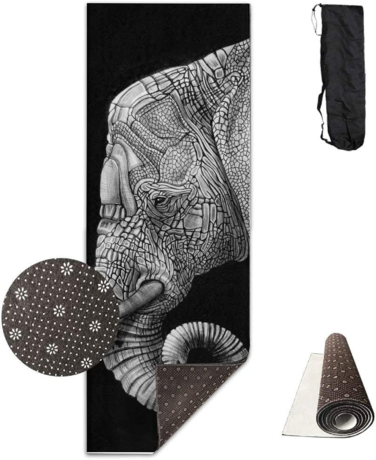 Yoga Mat Non Slip Elephant Art Printed 24 X 71 Inches Premium for Fitness Exercise Pilates with Carrying Strap