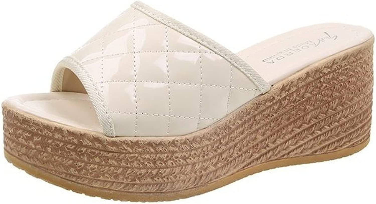 Womens Wedges Sandals Platform Chic Shipping Max 81% OFF included To Vamp Peep Leather Lattice