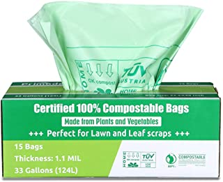 Primode Compostable Bags 30-33 Gallon, Lawn Leaf Extra Large Trash Bags, 15 Count 100% ASTMD6400 Certified Biodegradable C...