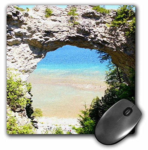 3dRose LLC 8 x 8 x 0.25 Inches Mouse Pad, Mackinac isla arco (MP 6277 _ 1)