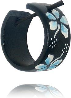 Legno Chic-Net cerchio orecchini pin pin orecchini a cerchio orecchini coco signore di resina di legno fiori gioielli Hawa...