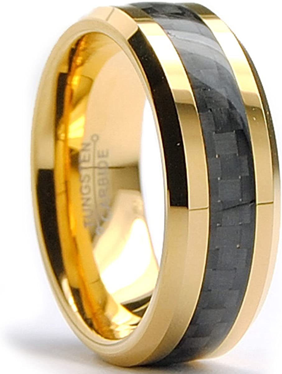 Bonndorf 8MM Men's Goldtone Plated Tungsten Carbide Ring Wedding Band W/Black Carbon Fiber Inaly Sizes 7 to 15