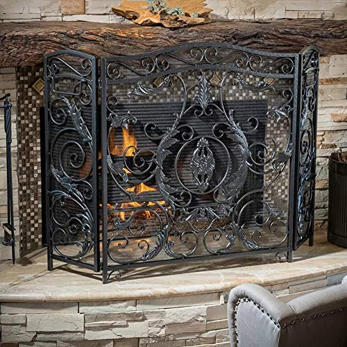 Best Bargain Large 3 Panel Wrought Iron Fireplace Screen, Outdoor Safe Metal Decor Mesh, Baby Safe F...