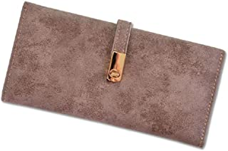 Delicate Leather Wallet for Women Portable Frosted Purse Organizer (Color : Brown)