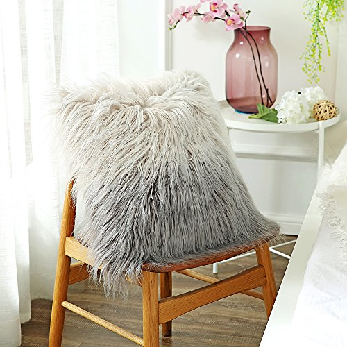 OJIA Deluxe Home Decorative Super Soft Plush Mongolian Faux Fur Throw Pillow Cover Cushion Case (18 x 18 Inch, Gradient Grey)