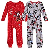Disney Minnie Mouse Baby Girls 2 Pack Sleep N' Play Footies 24 Months Gray/Red
