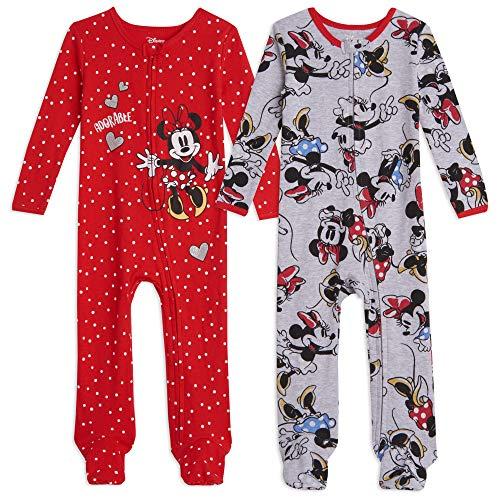 Disney Minnie Mouse Baby Girls 2 Pack Sleep N' Play Footies 24 Months Gray/Red