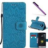 COTDINFOR LG G5 Funda Flores Cierre Magnético Billetera con Tapa para Tarjetas de Cárcasa Elegante Retro Suave PU Cuero Caso Protectora Case para LG G5 Sunflower Blue KT