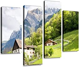 Heididorf, The Village of Heidi in Swiss Alps, Switzerland Canvas Wall Art Hanging Paintings Modern Artwork Abstract Picture Prints Home Decoration Gift Unique Designed Framed 4 Panel