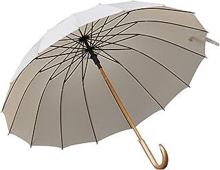 YJZDS Useful Windproof Reinforced Umbrella Rainstorm Dedicated, Easy to Carry Non-Slip Solid Wood Handle Umbrella Outdoor, Rainy, Travel,Portable (Color : Khaki)