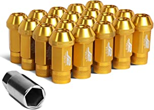 J2 Engineering 7075-T6 Forged Aluminum M12 x 1.5 50mm 20Pcs Knurled Top Lug Nut + Adapter (Gold)
