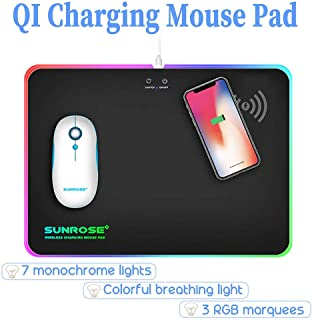 QI Fast Wireless Charging Gaming Mouse Pad Mice with Backlit Lighting Effects LED RGB Light Colorful Mat USB Mirco Interface for Gamer Home Office