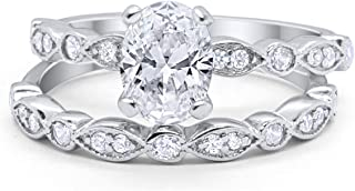 Oval Bridal Set Art Deco Ring Band Two Piece Wedding Engagement 925 Sterling Silver Choose Color