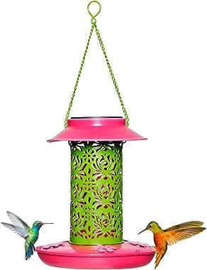 Solar Wild Bird Feeder, Hummingbird Feeder Red for Outdoors Hanging with a Solar Powered Light, Metal Frame Durable Garden De