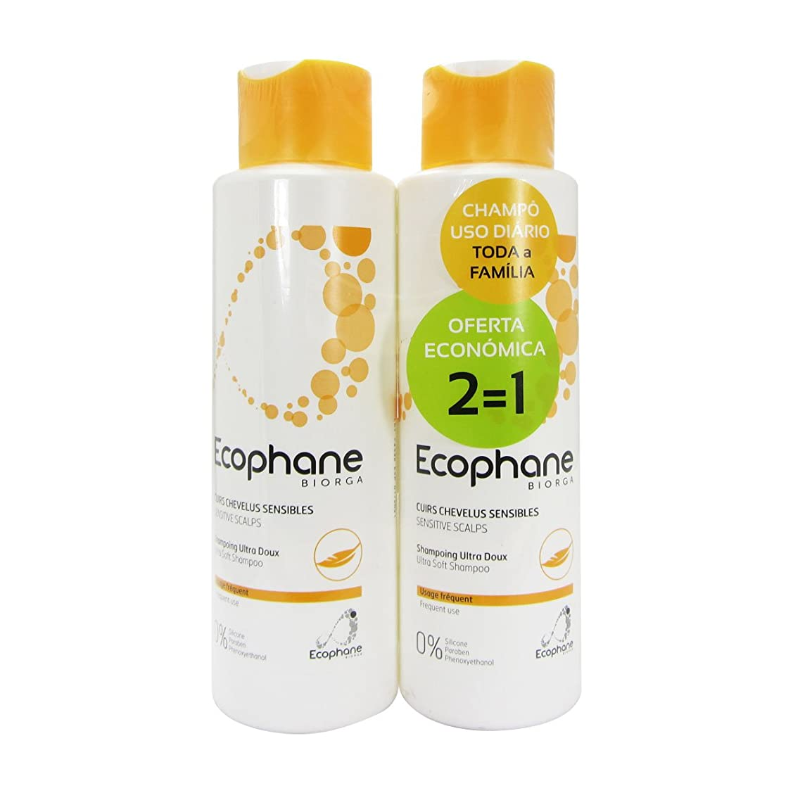 四回植物の繊細Biorga Ecophane Pack Ultra Soft Shampoo 2x500ml [並行輸入品]