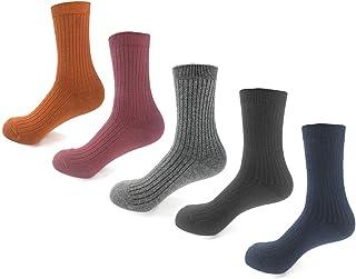 YANOIR, Calcetines de Canalé Mullidos y Gruesos,Calcetines Algodón Mujer.Pack de 5 pares,Otoño-Invierno,Talla única