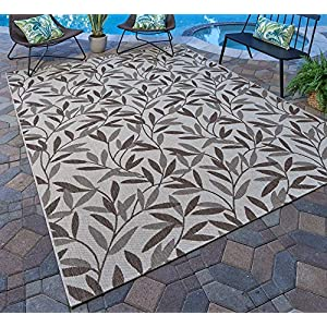 Gertmenian 21561 Nautical Tropical Carpet Outdoor Patio Rug, 5×7 Standard, Beige Willow Leaf
