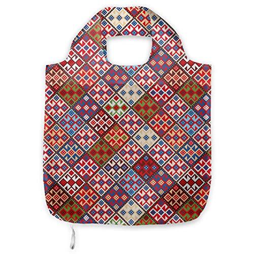 ABAKUHAUS Vistoso Bolsa Reutilizable Plegable para Compras, Alfombra nómada tribal, de Tela con Estampa Digital Colores Durables Lavable, Multicolor