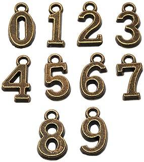100pcs Antique Bronze Plated 0-9 Figures Numbers Charms Pendant for Necklace Bracelet DIY Jewelry Making Accessories 16x8mm (100pcs Figure)