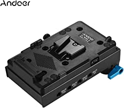 Andoer Placa de Batería V-Lock en V Adaptador con Abrazadera de Varilla de Doble Agujero de 15 mm Adaptador de Batería Simulado LP-E6