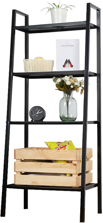 Black,6036147cm FGSS 4-Tiers-Vintage Ladder-Shelf-Bookshelf Display Leaning Storage-Rack-Shelf Industrial-Ladder-Shelf for Bathroom//Office//Living Room