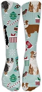 NEW Australian Shepherd Christmas Cute Aussie Dogs Unisex Compression Socks Athletic Tube Stockings Women's Men's Classics Knee High Socks Sport Long Sock One Size