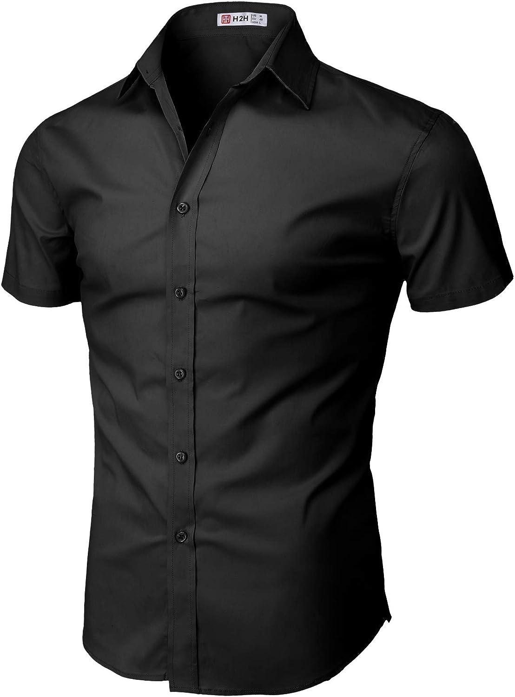 H2H Mens Dress Slim Fit Latest item Basi Short Arlington Mall Shirts Business Sleeve