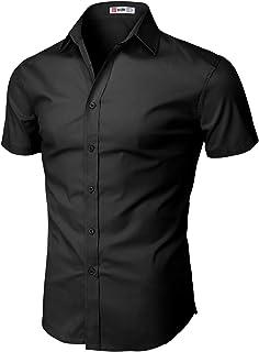 قميص رجالي H2H قميص ضيق بأكمام قصيرة قمصان عمل بتصميم أساسي مسامي
