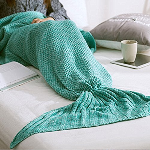 Kiki Monkey Multi-Größe handgemachte gestrickte Mermaid Schwanz-Decken-Sofa Schlafsäcke All Seasons für Erwachsene Kinder (M, Green)