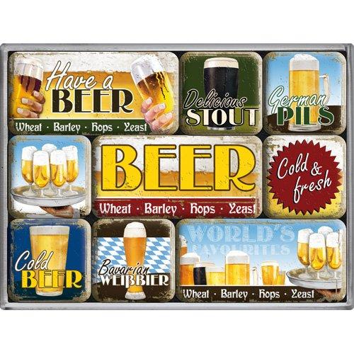 Nostalgic Art Magnet-Set 9-teilig, World's Favourite Beers, Kleine