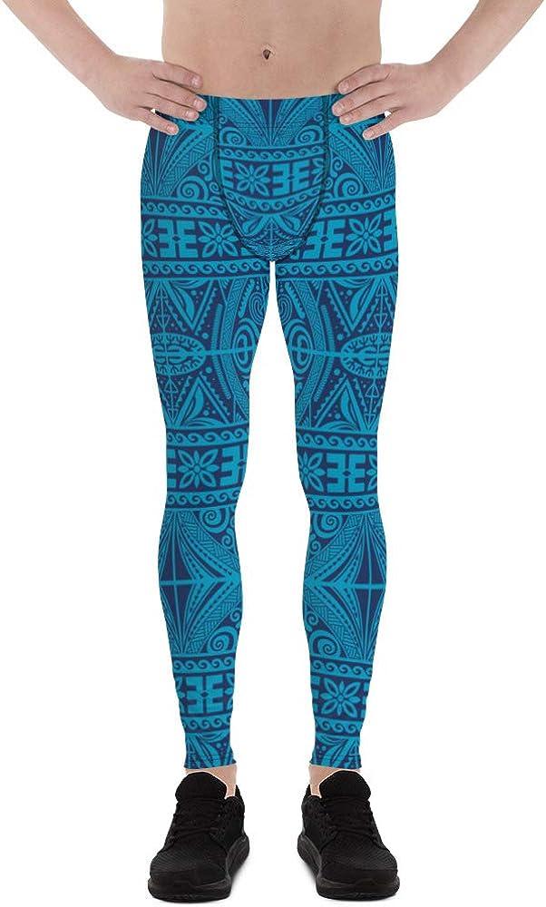 Satori_Stylez Tribal Maori Tattoo Leggings for Men Printed Blue Polynesian Ta Moko Pattern Meggings
