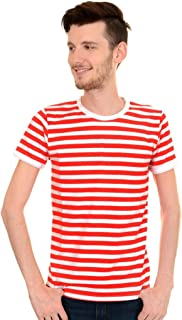 Mens Indie Retro 60's Red & White Striped Short Sleeve T Shirt