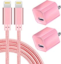 Boost Chargers 5V USB Wall Charger Power Adapter 1A Cube for Plug Outlet w/ 10FT Nylon Braided Charging Pad Cable Cord Compatible with iPhone X Case/8/8 Plus/7/7 Plus/6/6s Plus/5s/5 - Pink